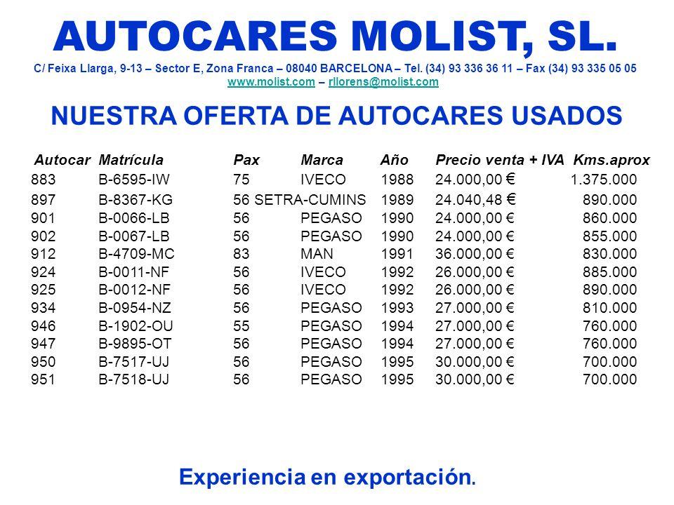 NUESTRA OFERTA DE AUTOCARES USADOS Experiencia en exportación. AUTOCARES MOLIST, SL. C/ Feixa Llarga, 9-13 – Sector E, Zona Franca – 08040 BARCELONA –