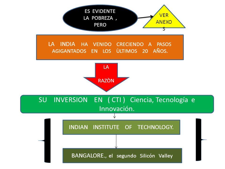 ES EVIDENTE LA POBREZA, PERO LA INDIA HA VENIDO CRECIENDO A PASOS AGIGANTADOS EN LOS ÙLTIMOS 20 AÑOS. LA RAZÒN SU INVERSION EN ( CTI ) Ciencia, Tecnol
