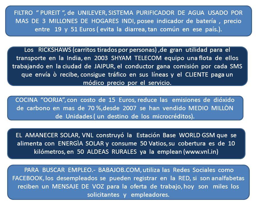 FILTRO PUREIT, de UNILEVER, SISTEMA PURIFICADOR DE AGUA USADO POR MAS DE 3 MILLONES DE HOGARES INDI, posee indicador de batería, precio entre 19 y 51