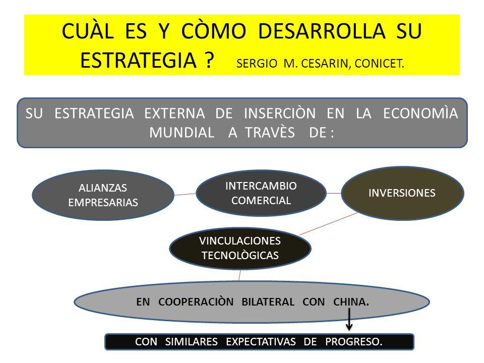 CUÀL ES Y CÒMO DESARROLLA SU ESTRATEGIA ? SERGIO M. CESARIN, CONICET. SU ESTRATEGIA EXTERNA DE INSERCIÒN EN LA ECONOMÌA MUNDIAL A TRAVÈS DE : ALIANZAS