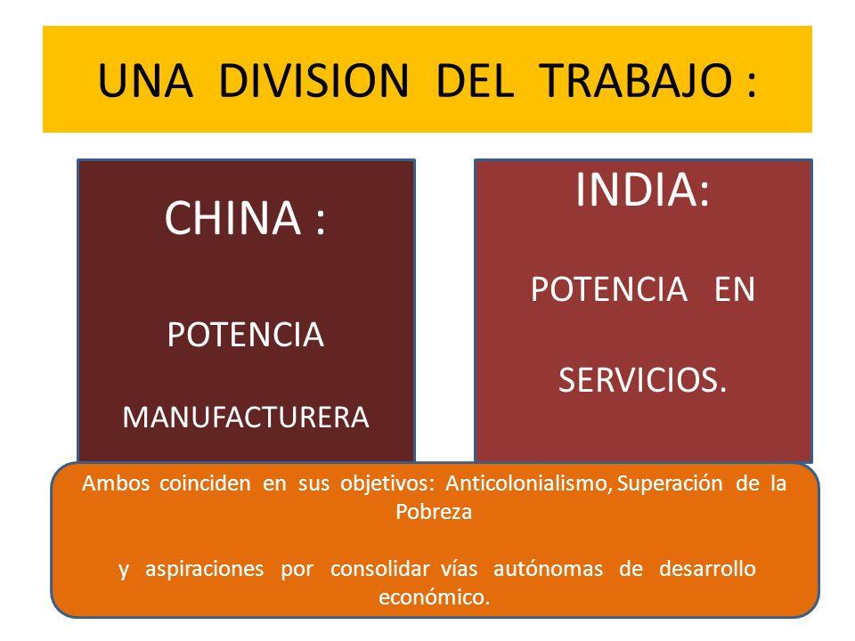 UNA DIVISION DEL TRABAJO : CHINA : POTENCIA MANUFACTURERA INDIA: POTENCIA EN SERVICIOS. Ambos coinciden en sus objetivos: Anticolonialismo, Superación