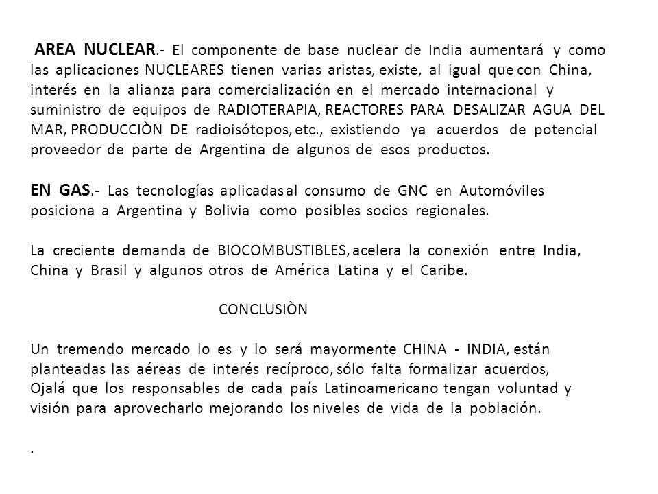 AREA NUCLEAR.- El componente de base nuclear de India aumentará y como las aplicaciones NUCLEARES tienen varias aristas, existe, al igual que con Chin