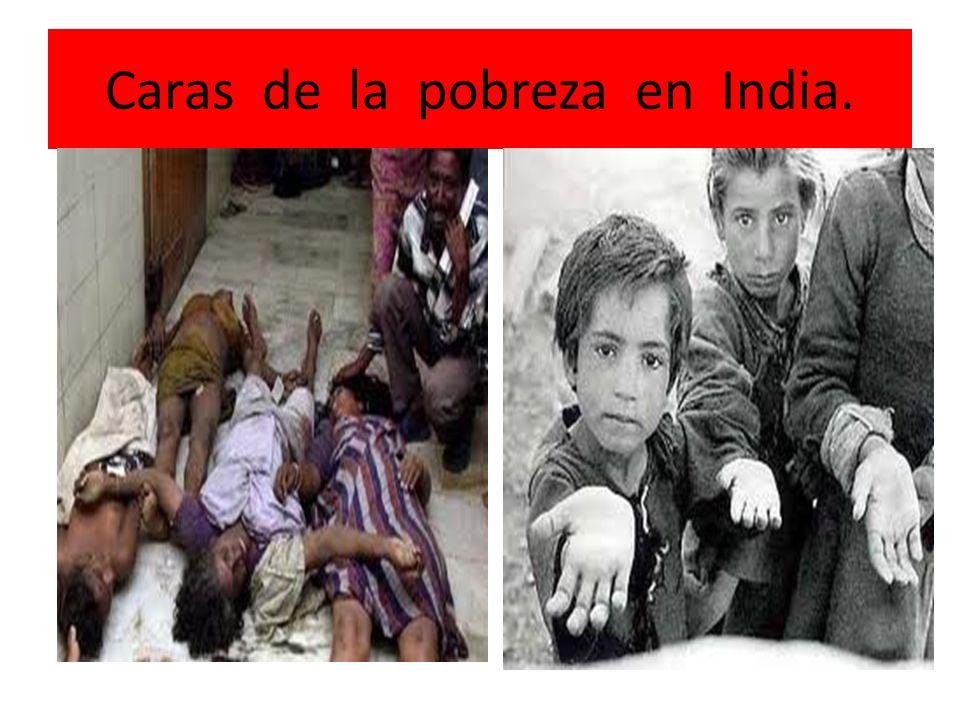 Caras de la pobreza en India.