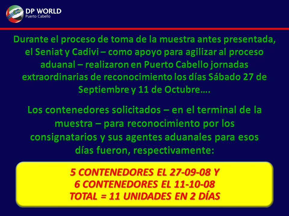 5 CONTENEDORES EL 27-09-08 Y 6 CONTENEDORES EL 11-10-08 TOTAL = 11 UNIDADES EN 2 DÍAS