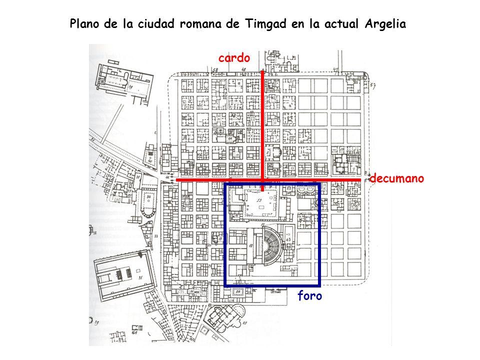 Plano de la ciudad romana de Timgad en la actual Argelia cardo decumano foro