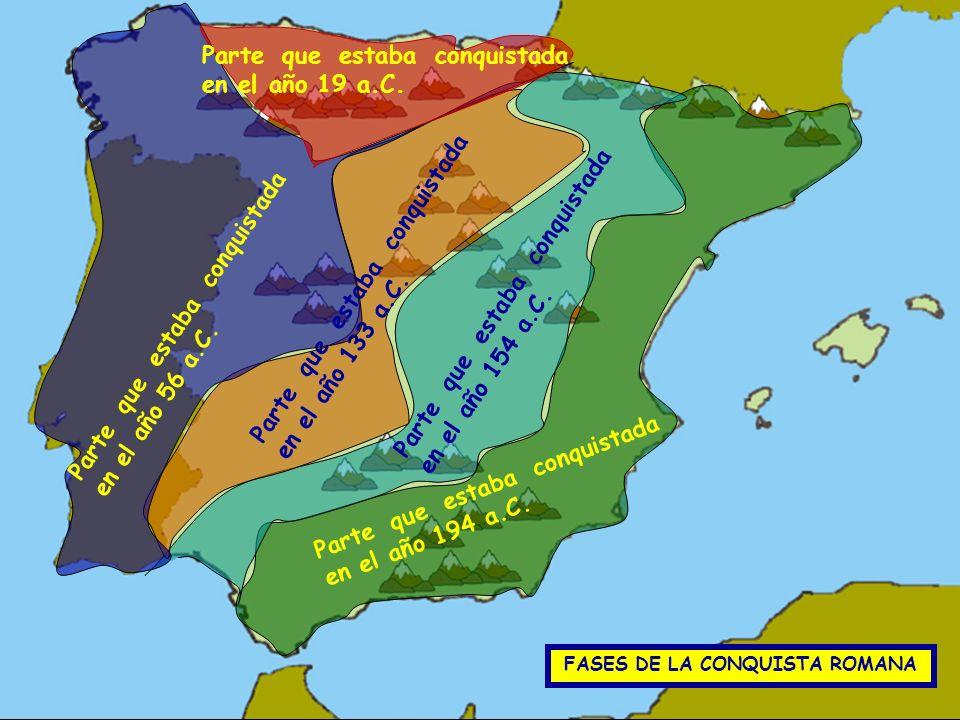 FASES DE LA CONQUISTA ROMANA Parte que estaba conquistada en el año 194 a.C. Parte que estaba conquistada en el año 154 a.C. Parte que estaba conquist