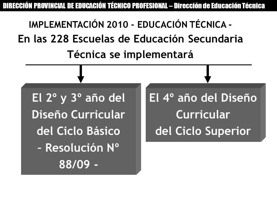 IMPLEMENTACIÓN 2010 - EDUCACIÓN TÉCNICA - En las 228 Escuelas de Educación Secundaria Técnica se implementará El 2º y 3º año del Diseño Curricular del