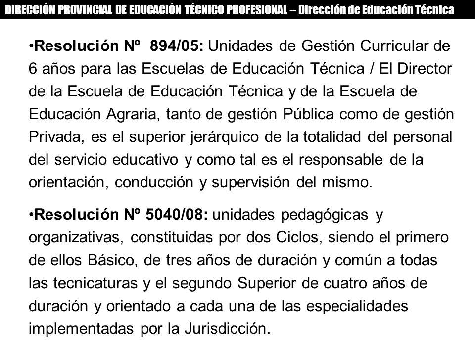 DIRECCIÓN PROVINCIAL DE EDUCACIÓN TÉCNICO PROFESIONAL – Dirección de Educación Técnica Resolución Nº 894/05: Unidades de Gestión Curricular de 6 años