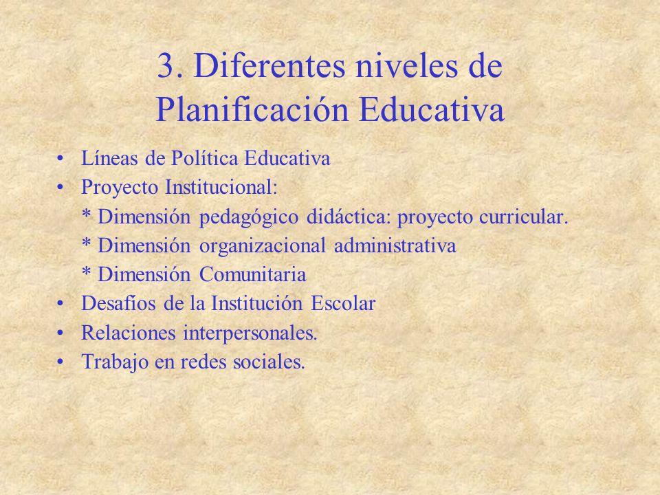 3. Diferentes niveles de Planificación Educativa Líneas de Política Educativa Proyecto Institucional: * Dimensión pedagógico didáctica: proyecto curri