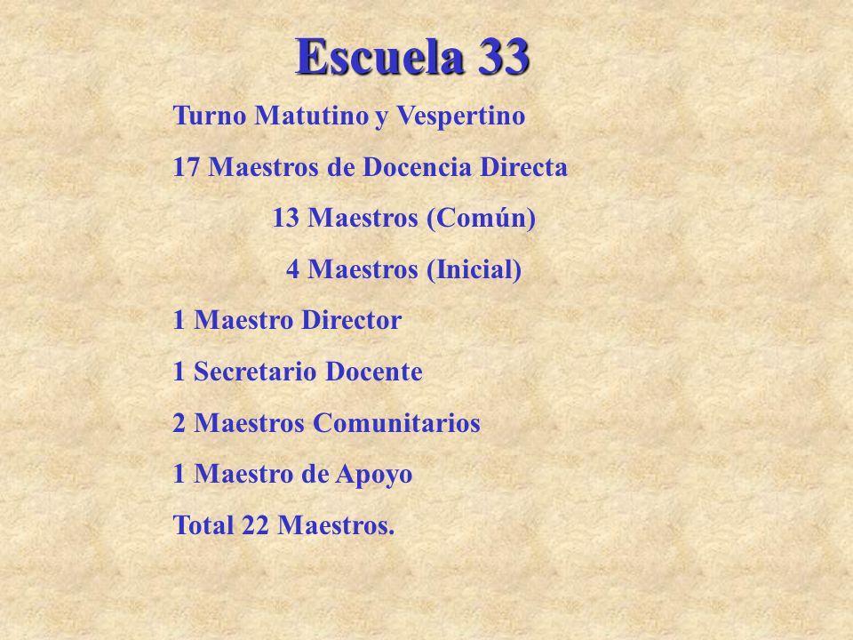Escuela 33 Turno Matutino y Vespertino 17 Maestros de Docencia Directa 13 Maestros (Común) 4 Maestros (Inicial) 1 Maestro Director 1 Secretario Docent