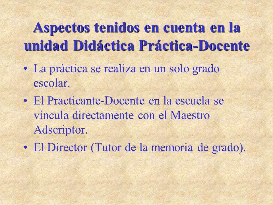 Aspectos tenidos en cuenta en la unidad Didáctica Práctica-Docente La práctica se realiza en un solo grado escolar. El Practicante-Docente en la escue