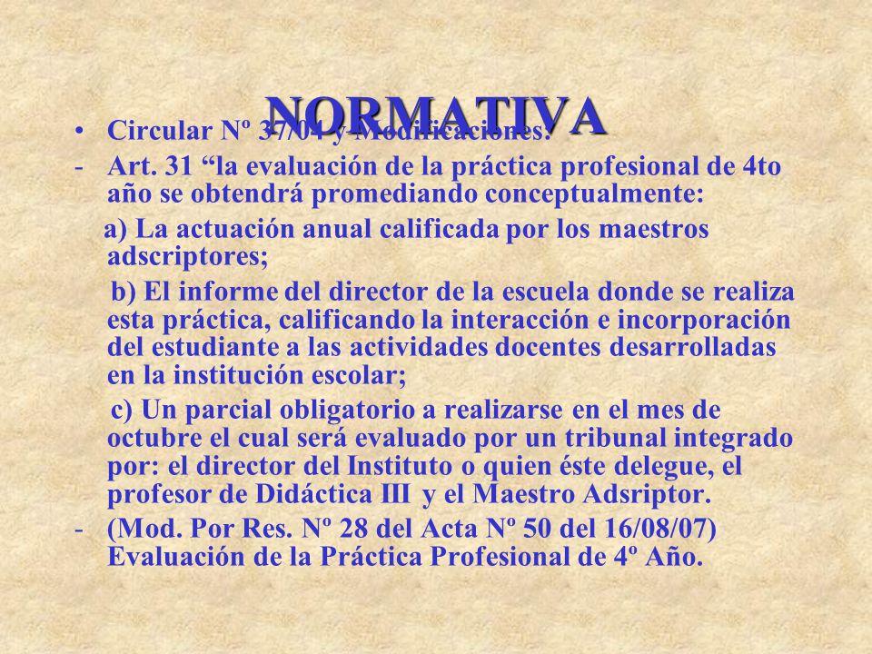 NORMATIVA Circular Nº 37/04 y Modificaciones: -Art. 31 la evaluación de la práctica profesional de 4to año se obtendrá promediando conceptualmente: a)
