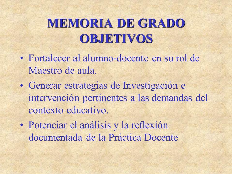 MEMORIA DE GRADO OBJETIVOS Fortalecer al alumno-docente en su rol de Maestro de aula. Generar estrategias de Investigación e intervención pertinentes