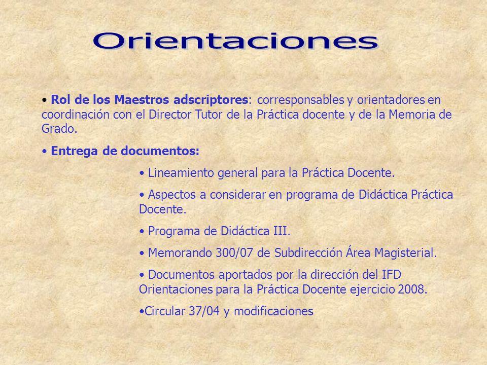 Rol de los Maestros adscriptores: corresponsables y orientadores en coordinación con el Director Tutor de la Práctica docente y de la Memoria de Grado