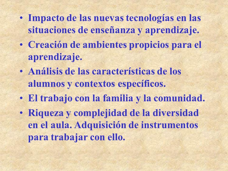 Impacto de las nuevas tecnologías en las situaciones de enseñanza y aprendizaje. Creación de ambientes propicios para el aprendizaje. Análisis de las