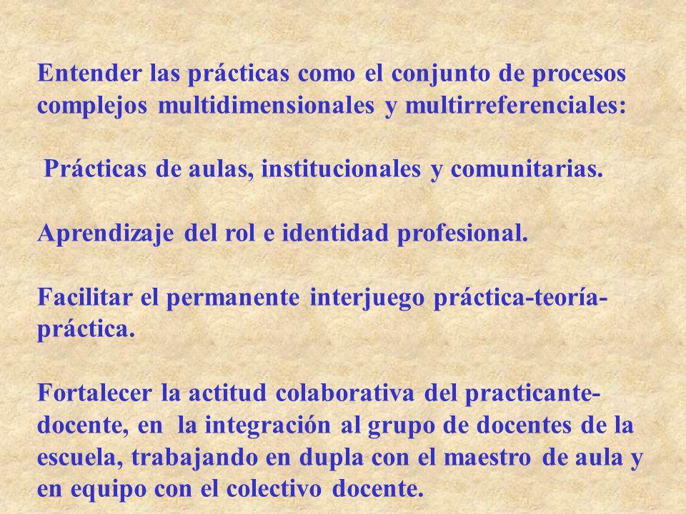 Entender las prácticas como el conjunto de procesos complejos multidimensionales y multirreferenciales: Prácticas de aulas, institucionales y comunita