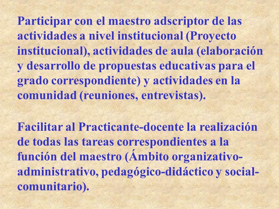 Participar con el maestro adscriptor de las actividades a nivel institucional (Proyecto institucional), actividades de aula (elaboración y desarrollo