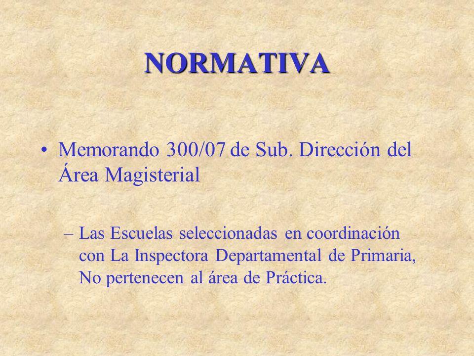NORMATIVA Memorando 300/07 de Sub. Dirección del Área Magisterial –Las Escuelas seleccionadas en coordinación con La Inspectora Departamental de Prima
