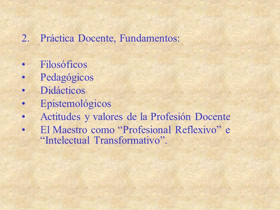 2.Práctica Docente, Fundamentos: Filosóficos Pedagógicos Didácticos Epistemológicos Actitudes y valores de la Profesión Docente El Maestro como Profes