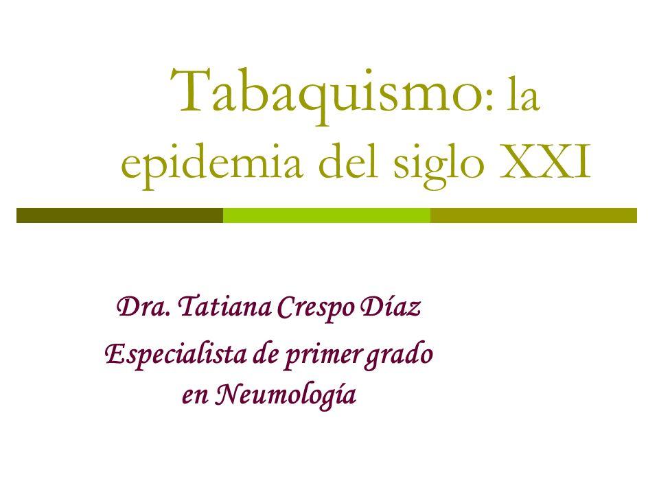 Tabaquismo : la epidemia del siglo XXI Dra. Tatiana Crespo Díaz Especialista de primer grado en Neumología