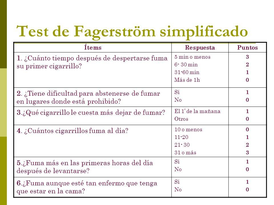 Test de Fagerström simplificado ÍtemsRespuestaPuntos 1. ¿Cuánto tiempo después de despertarse fuma su primer cigarrillo? 5 min o menos 6- 30 min 31-60