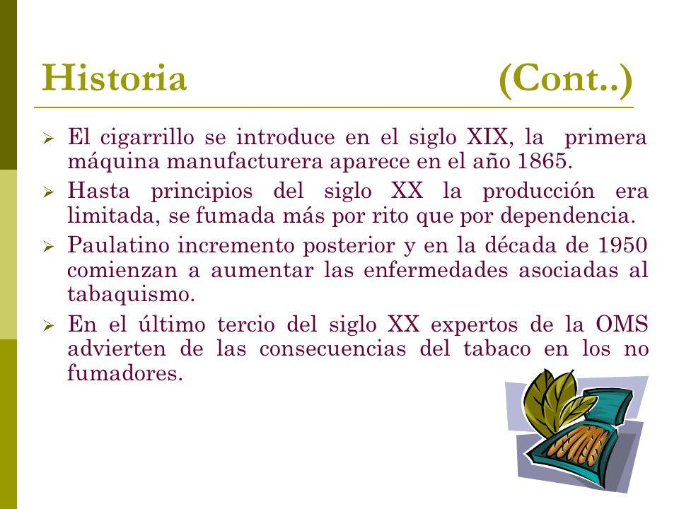 Historia (Cont..) El cigarrillo se introduce en el siglo XIX, la primera máquina manufacturera aparece en el año 1865. Hasta principios del siglo XX l