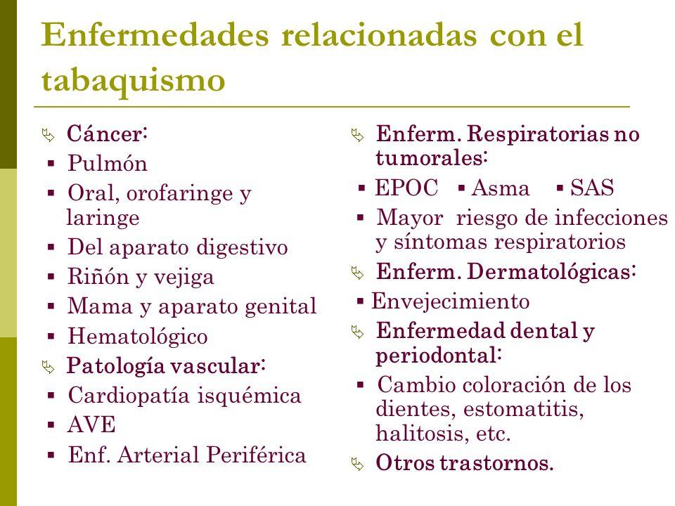 Enfermedades relacionadas con el tabaquismo Cáncer: Pulmón Oral, orofaringe y laringe Del aparato digestivo Riñón y vejiga Mama y aparato genital Hematológico Patología vascular: Cardiopatía isquémica AVE Enf.