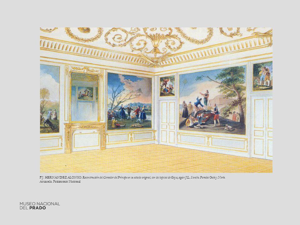 F.J. HERNÁNDEZ ALONSO. Reconstrucción del Comedor del Príncipe en su estado original, con los tapices de Goya, según J.L. Sancho. Paredes Oeste y Nort