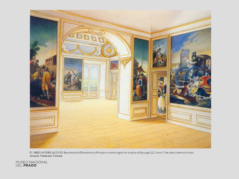 F.J. HERNÁNDEZ ALONSO. Reconstrucción del Dormitorio de los Príncipes en su estado original, con los tapices de Goya, según J.L. Sancho. Vista desde e