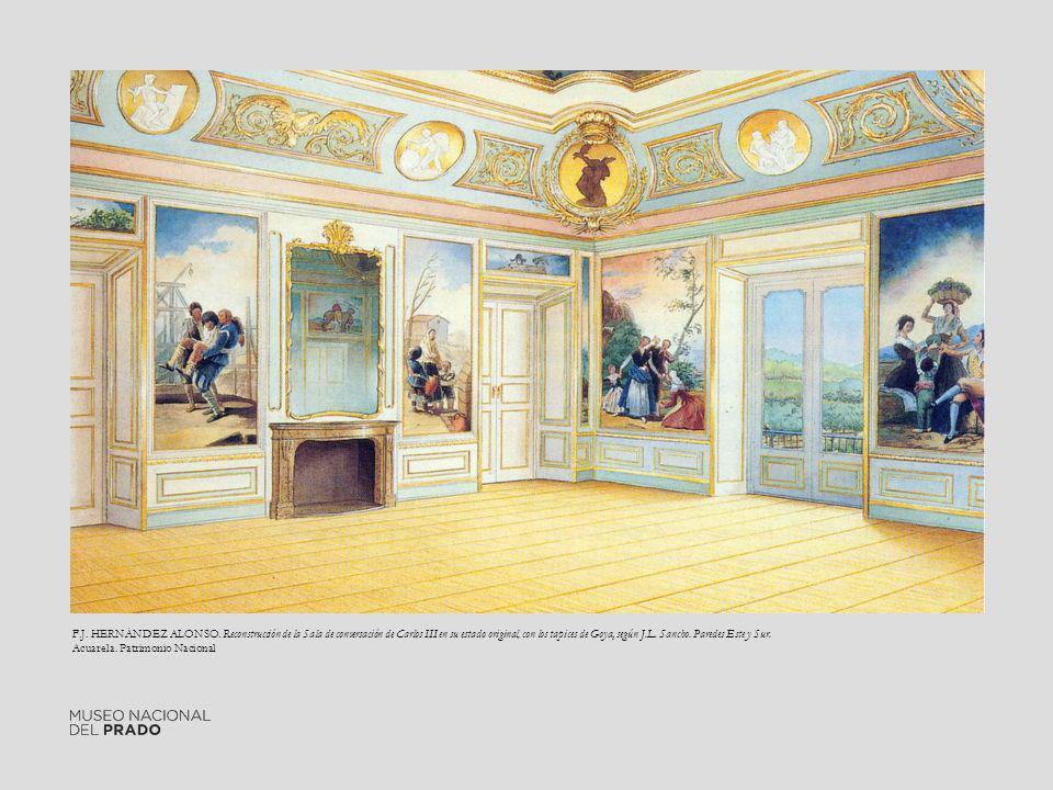 F.J. HERNÁNDEZ ALONSO. Reconstrucción de la Sala de conversación de Carlos III en su estado original, con los tapices de Goya, según J.L. Sancho. Pare