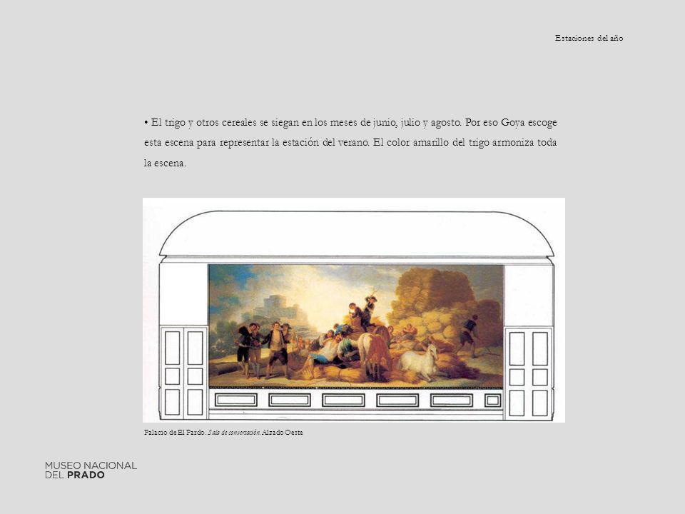 Palacio de El Pardo. Sala de conversación. Alzado Oeste El trigo y otros cereales se siegan en los meses de junio, julio y agosto. Por eso Goya escoge