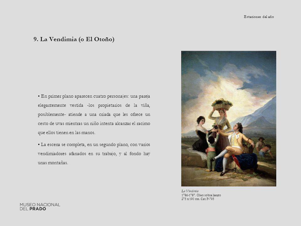 9. La Vendimia (o El Otoño) En primer plano aparecen cuatro personajes: una pareja elegantemente vestida -los propietarios de la viña, posiblemente- a