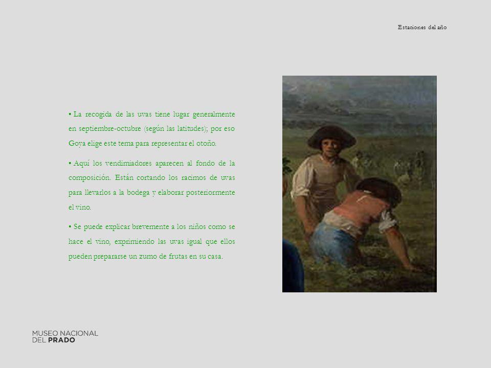 La recogida de las uvas tiene lugar generalmente en septiembre-octubre (según las latitudes); por eso Goya elige este tema para representar el otoño.