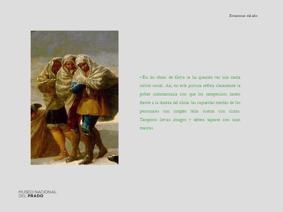 En las obras de Goya se ha querido ver una cierta crítica social. Así, en esta pintura refleja claramente la pobre indumentaria con que los campesinos