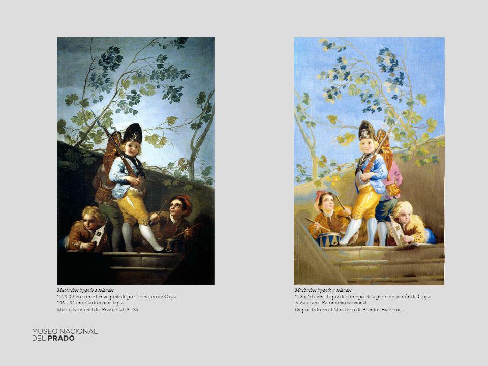 Muchachos jugando a soldados 1779. Óleo sobre lienzo pintado por Francisco de Goya 146 x 94 cm. Cartón para tapiz Museo Nacional del Prado. Cat. P-783