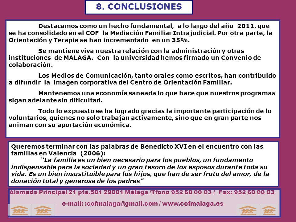 8. CONCLUSIONES Destacamos como un hecho fundamental, a lo largo del año 2011, que se ha consolidado en el COF la Mediación Familiar Intrajudicial. Po