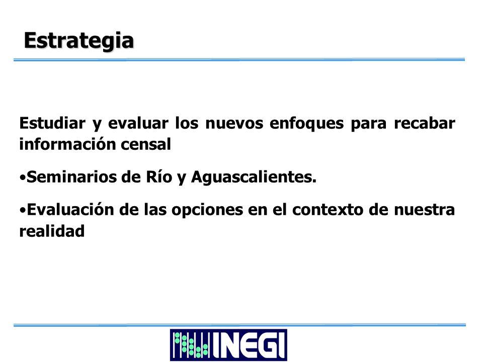 Estrategia Estudiar y evaluar los nuevos enfoques para recabar información censal Seminarios de Río y Aguascalientes.