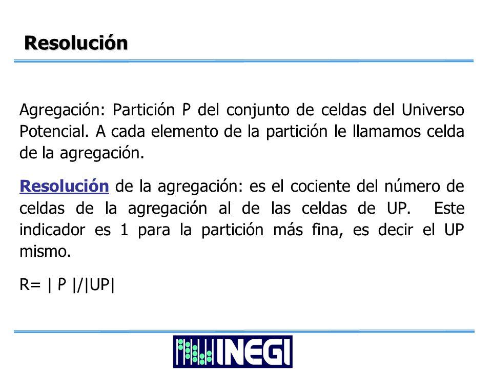 Resolución Agregación: Partición P del conjunto de celdas del Universo Potencial.