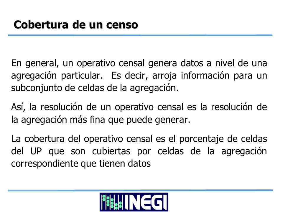 Cobertura de un censo En general, un operativo censal genera datos a nivel de una agregación particular.
