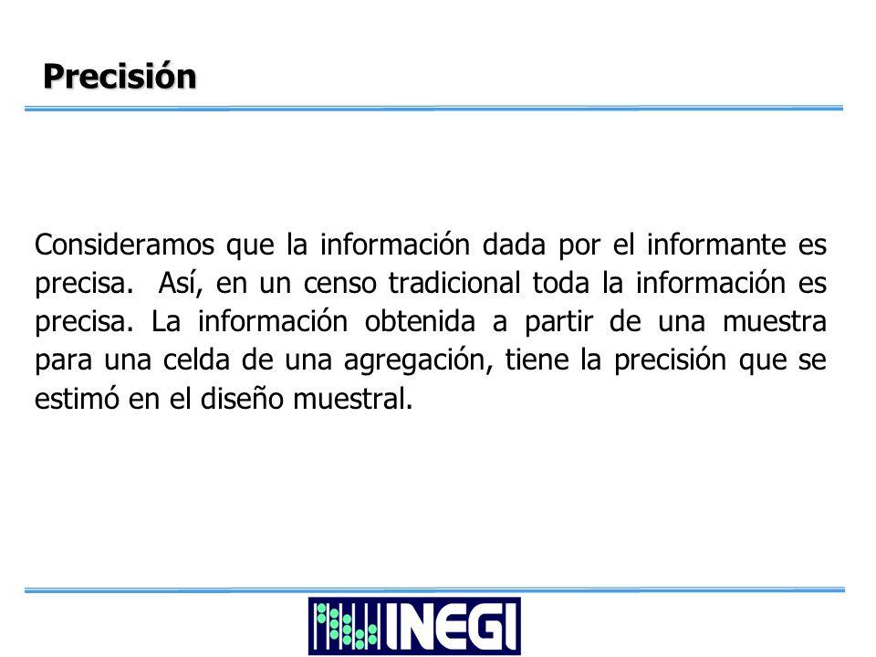Precisión Consideramos que la información dada por el informante es precisa.
