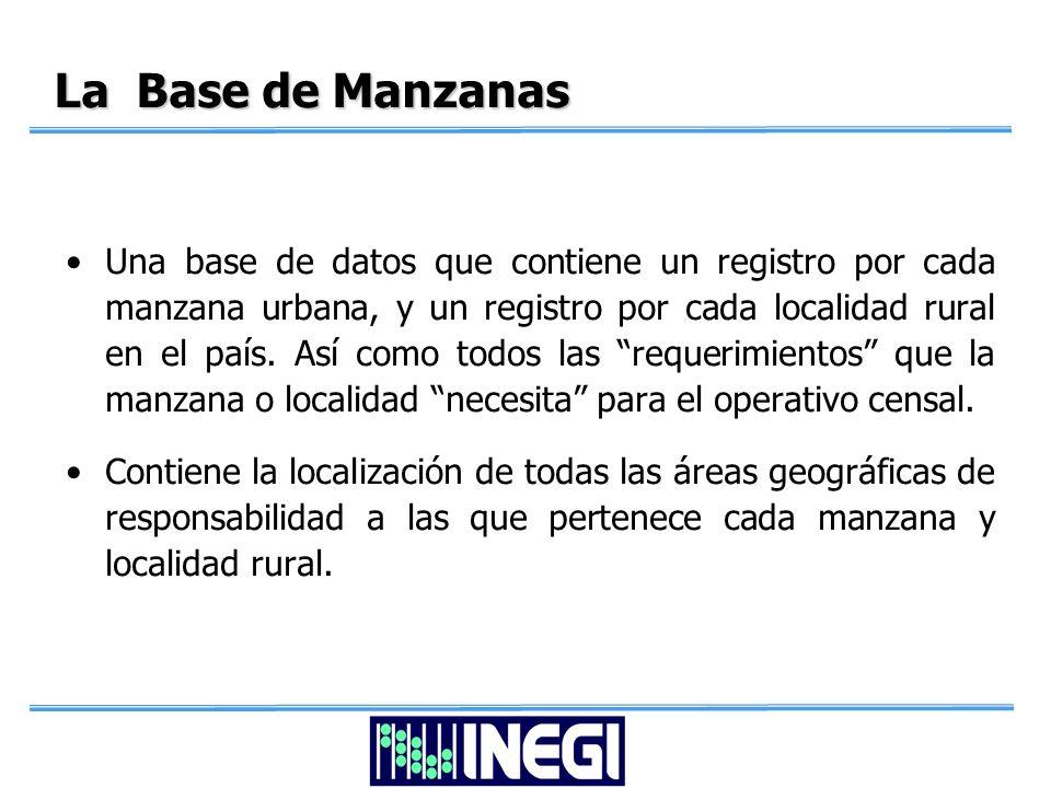 La Base de Manzanas Una base de datos que contiene un registro por cada manzana urbana, y un registro por cada localidad rural en el país.