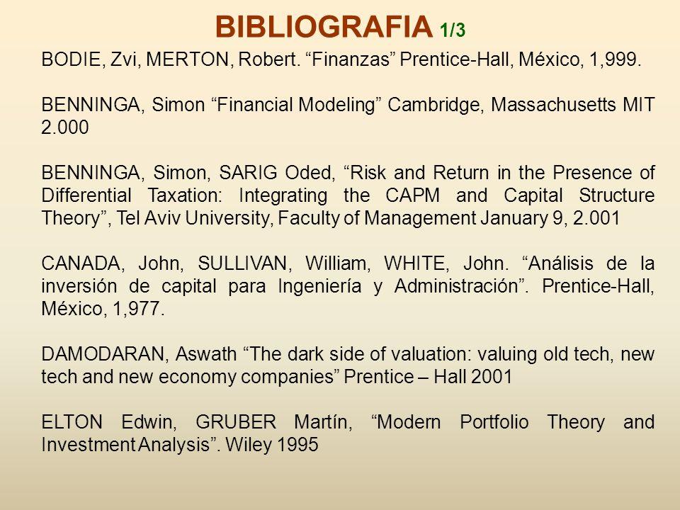 BODIE, Zvi, MERTON, Robert. Finanzas Prentice-Hall, México, 1,999. BENNINGA, Simon Financial Modeling Cambridge, Massachusetts MIT 2.000 BENNINGA, Sim