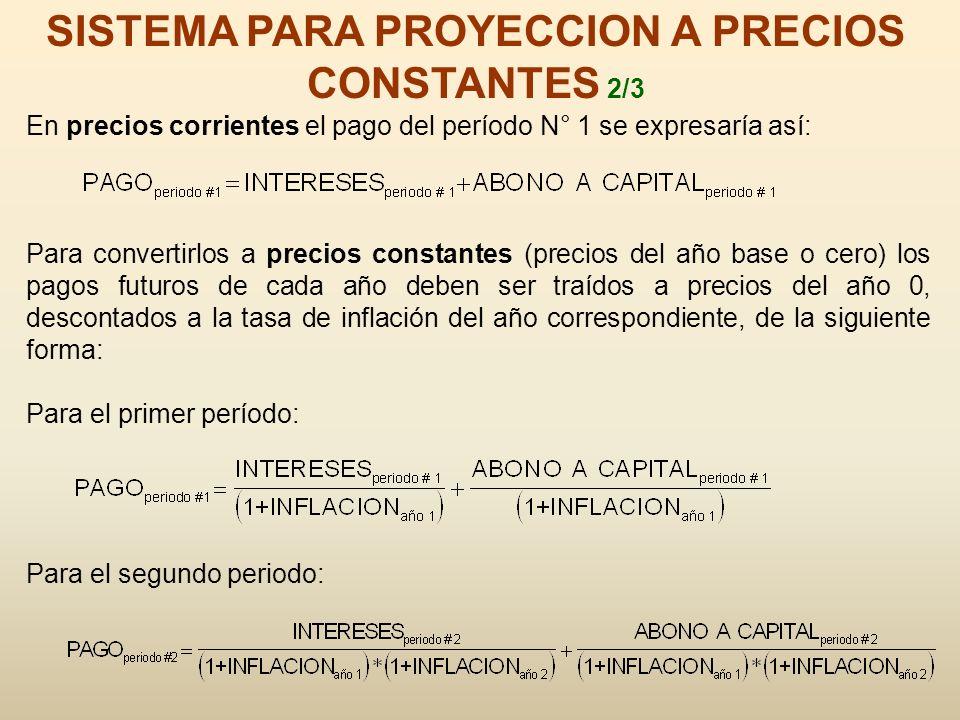 SISTEMA PARA PROYECCION A PRECIOS CONSTANTES 2/3 En precios corrientes el pago del período N° 1 se expresaría así: Para convertirlos a precios constan