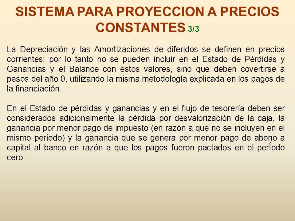 SISTEMA PARA PROYECCION A PRECIOS CONSTANTES 3/3 La Depreciación y las Amortizaciones de diferidos se definen en precios corrientes; por lo tanto no s