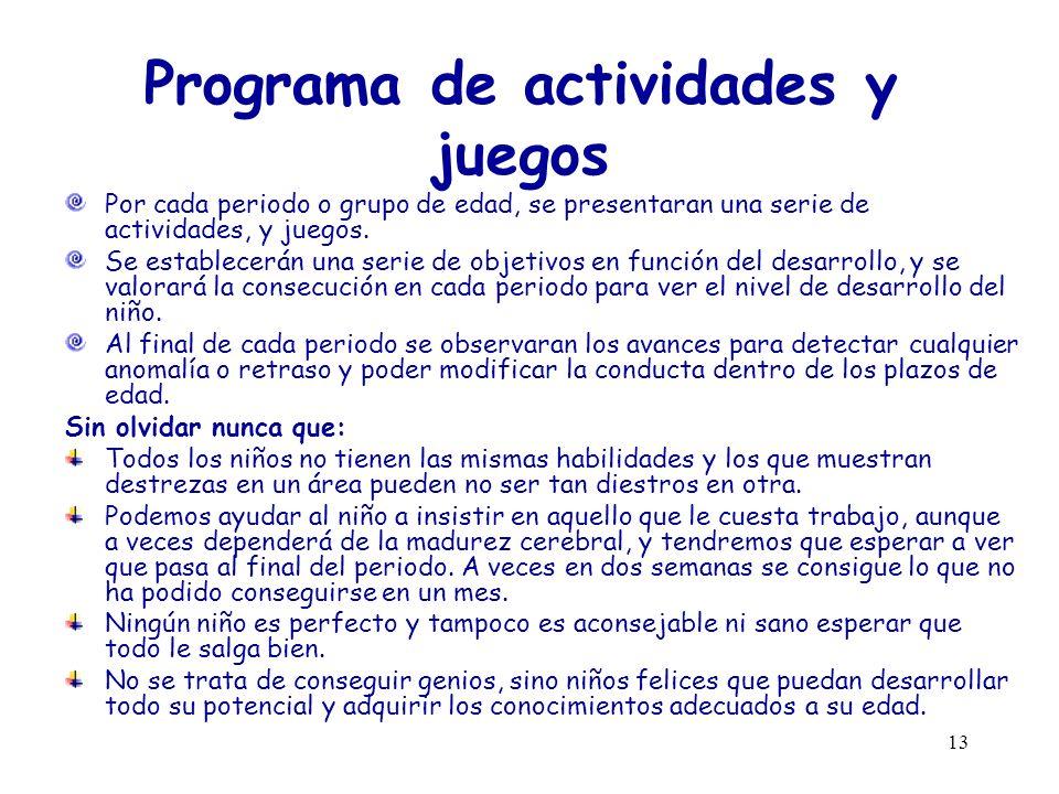 13 Programa de actividades y juegos Por cada periodo o grupo de edad, se presentaran una serie de actividades, y juegos. Se establecerán una serie de