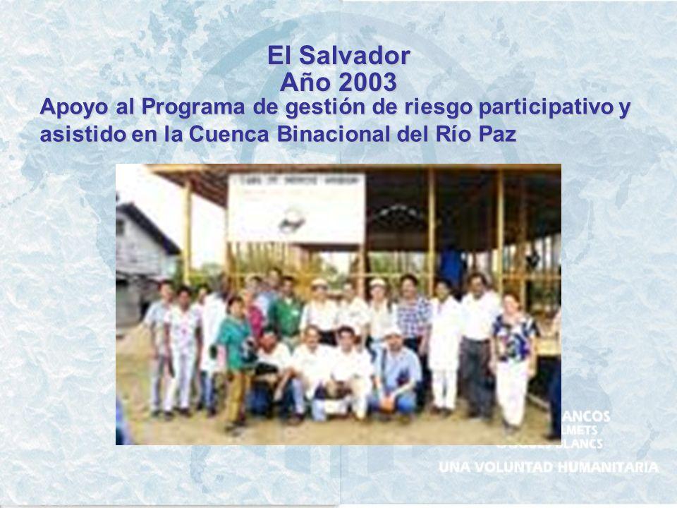EL SALVADOR Año 2001 Apoyo a UNICEF y al Ministerio de Educación Respuesta Rápida – Manejo de Suministros Fortalecimiento en la Organización y Gestión