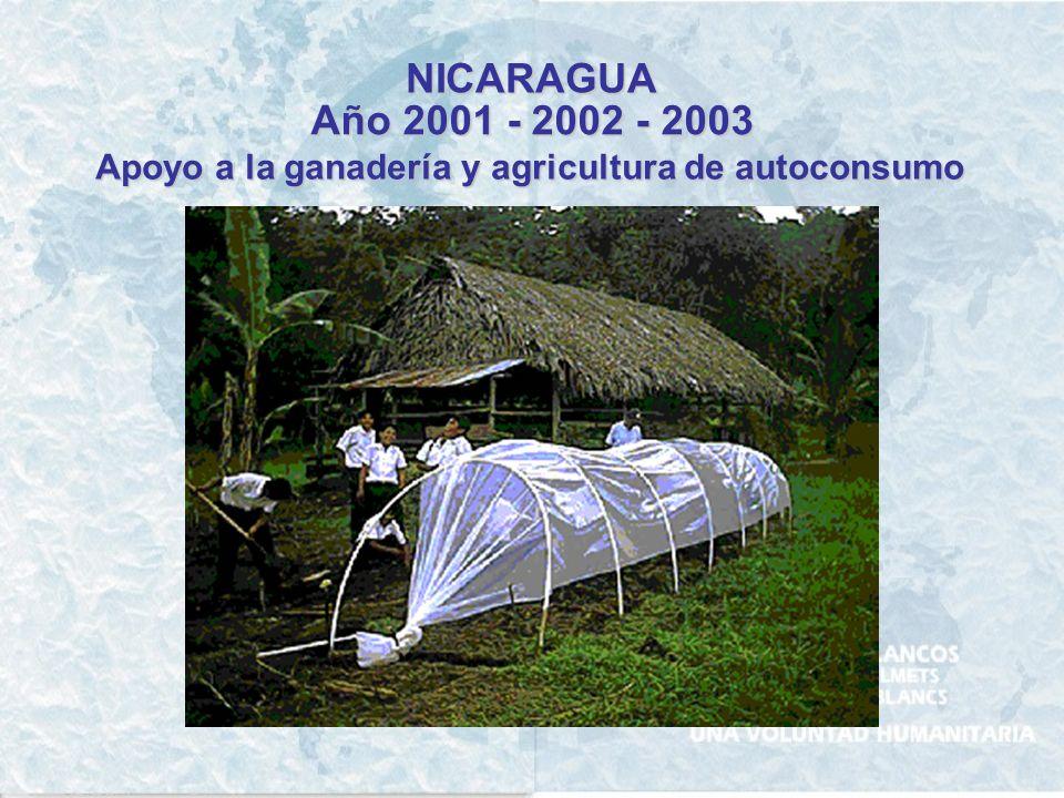 NICARAGUA Año 2002 Apoyo a la formación docente en las comunidades de la Rivera del Río Coco Departamento de Jinotega