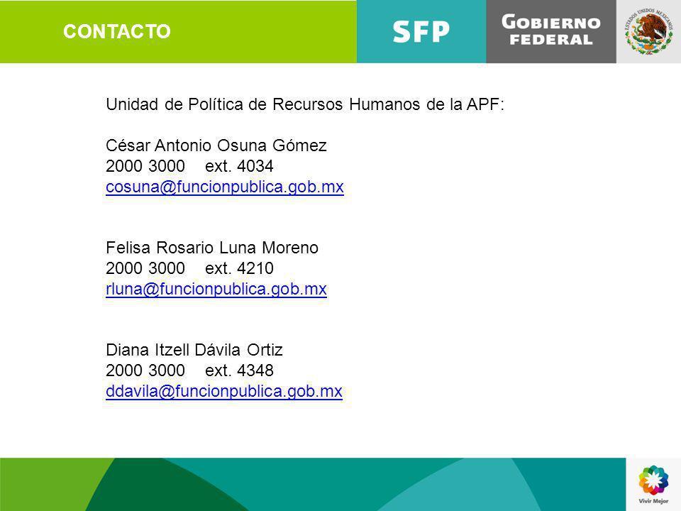 CONTACTO Unidad de Política de Recursos Humanos de la APF: César Antonio Osuna Gómez 2000 3000 ext.