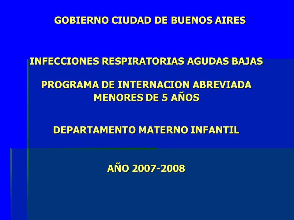 GOBIERNO CIUDAD DE BUENOS AIRES GOBIERNO CIUDAD DE BUENOS AIRES INFECCIONES RESPIRATORIAS AGUDAS BAJAS PROGRAMA DE INTERNACION ABREVIADA MENORES DE 5 AÑOS DEPARTAMENTO MATERNO INFANTIL AÑO 2007-2008