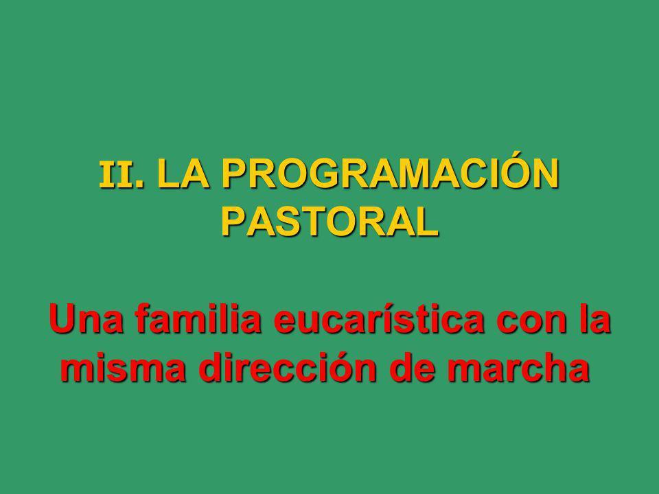 II. LA PROGRAMACIÓN PASTORAL Una familia eucarística con la misma dirección de marcha II.